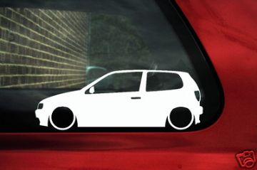 2x LOW VW Polo GTi 6n (mk3) TDI,GTi Outline silhouette stickers / Decals